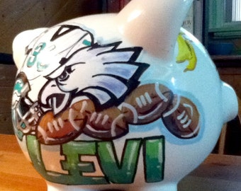 Personalized Piggy Bank Sports Custom Art in the Football Team of Your Choice