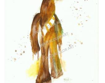 Star Wars Princess Chewbacca Watercolor Print