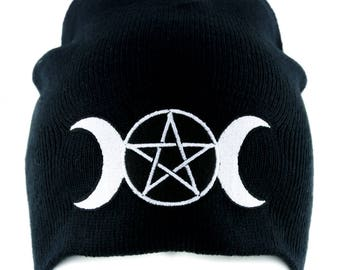 Triple Goddess Wicca Pentagram Beanie Knit Cap Pagan Clothing Three Moon Witchcraft - YDS-EMPA-021-BEANIE