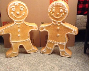 Christmas set of 2 gingerbread men blow molds yard decoration plastic light up