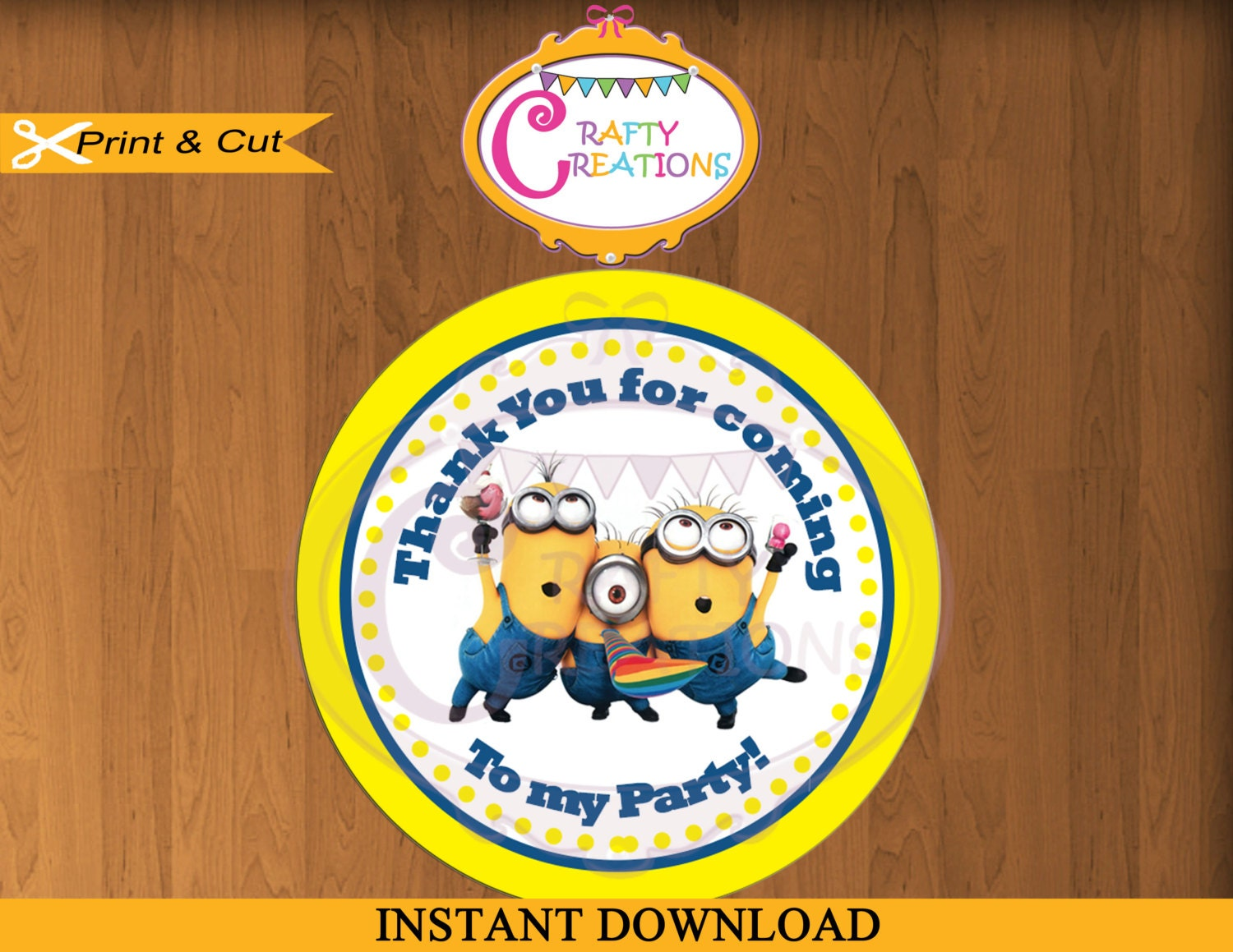 Instant download despicable me minions favor tags sticker zoom negle Gallery