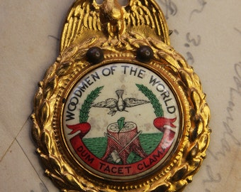 Vintage Woodmen of the World- Celluloid Eagle Wreath- Hat Badge- Early 1900's- Found Object