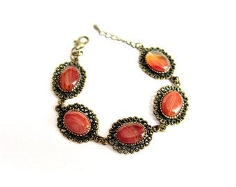 Bracciale pietre dure agata arancione bronzo braccialetto stile vintage bracciale cabochon pietre arancione regalo per lei