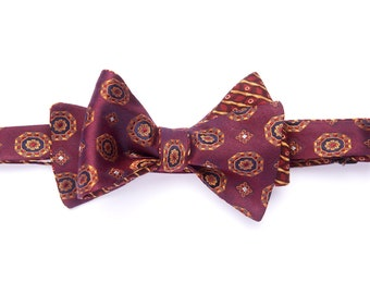 Self-tie reversible bowtie red medallion & yellow stripes, silk bow tie for men, adult, classic suit, wedding and groomsmen, graduation