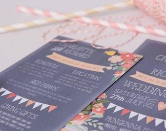 Grey Coral Wedding Invite