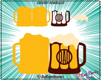 Beer Mug, Dad, Fathers Day Card, Paper Cut Files, EPS, SVG, Png, Vector