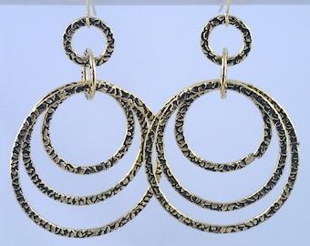 Rings of Saturn Earrings - antique gold circle earrings handmade in NYC