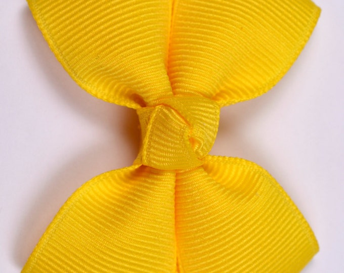 Yellow Hair Bow 2.5 Inch Pinwheel Boutique Bow for Babies Toddlers Girls Hair Bows