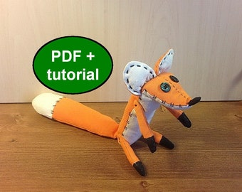 Fox sewing pattern fox stuff animal pattern plush toy pattern Little prince fox pattern fox softie pattern tutorial FREE SHIPPING