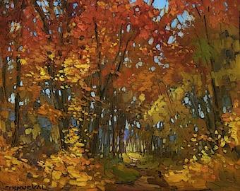Fall - Autumn Color - Giclee Fine Art PRINT of original painting matted 11x14 by Jan Schmuckal
