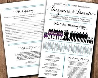 Wedding Silhouette Program Wedding Silhouette Card - Meet the Bridal Party Silhouette Wedding Program Fan Printable   YOU print or WE print