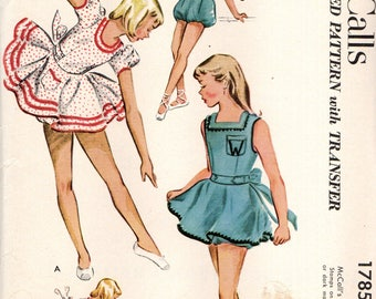 McCalls 1785 Girl's Size 6 DANCE COSTUME 1950s Capezio Approved  Pattern Rompers with Skirt and Bloomers