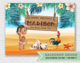 Moana Party Backdrop Poster // Digital File Only // NOT SOLD as printed backdrop,You Print it