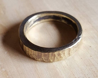 Hand forged brass ring, hammered brass ring made by blacksmith, oxidized brass ring, rustic mens ring,