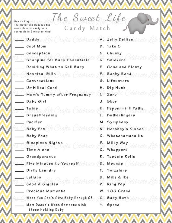 Delightful Baby Shower Sweet Life Candy Bar Match Game   Printable Baby Shower Games    Yellow Gray Elephant Chevron Baby   Gender Neutral N005