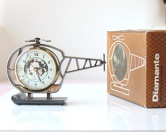 Vintage alarm clock Helicopter clock NEW OLD STOCK Wind up mechanical Chinese desk clock Old table clock World map Working Retro home decor