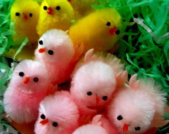 6 Baby Chenille Chicks Pink