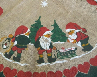 Mid Century Swedish Christmas Elf Tablecloth Burlap Tablecloth Hiljo Round Christmas Tablecloth Sweden