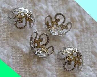 Flower Bead Caps, Filigree Bead Caps, Hollow Flower End Spacer, 10x4mm Dark Silver Tone Metal Bead Caps, Beading Supplies