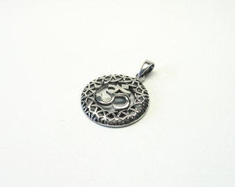 Om Ohm Aum pendant silver 925 aum om Sterling silver Pendant