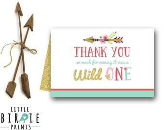 WILD ONE Birthday party Wild one thank you card wild One first birthday party Thank you Printable Instant download. Invitation in shop