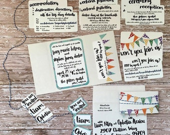 Colorful unique pocketfold wedding invitation, handmade rainbow bunting whimsical printed pocket invite, quirky announcement, DIY wedding