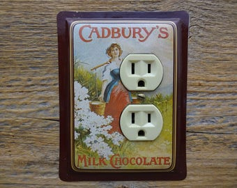 Light Fixture Outlet Cover Made From An Old Recycled Upcycled Cadburys Chocolate Tin Tins Wall Art Country Kitchen Decor OLC-1006