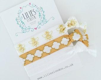 Bee hair ties, gold hairbands, honeycomb hair ties, ponytail holders, bee bracelets, ribbon hair ties, unique gifts for her, white elastics