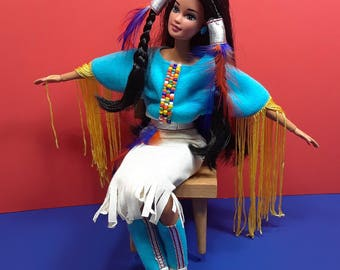 Unique Barbie Native American Hybrid Doll With New Articulated Body Vintage Head And Clothes