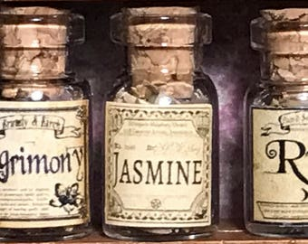 "Jar of JASMINE for a dollhouse, witch's herbs and poisons, dollhouse size, in a glass jar 1:12 1/12 1"", under 1"" tall, (simulated)"