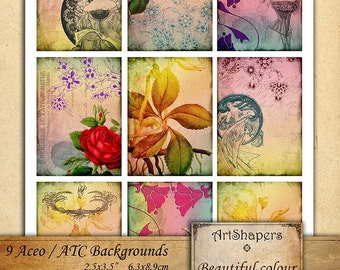 BEAUTIFUL COLOUR- - Aceo backgrounds, jewelry holders,instant download paper, vintage images,digital collage sheet DCS96
