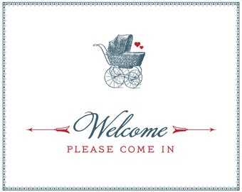French Baby Carriage Welcome Sign