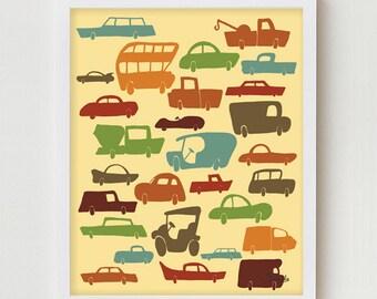 "Cars & Trucks Print Art ""I LOVE CARS"" Vintage Inspired 8x10 Boys Kids Art Bedroom Decor, Cars and Trucks Illustration"
