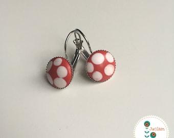 Boucles d'oreilles dormeuses rondes 14mm motif rouge pois blanc - fille - femme - girly - cadeau - mignon