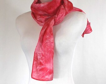 Hand painted Habotai silk scarf,  Red and white abstract silk scarf, natural China silk, OOAK ready to ship