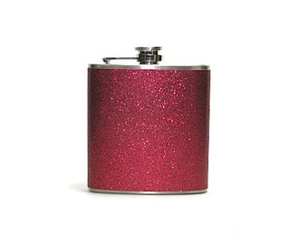 Ruby Red Sparkly Glitter 6 oz Size Stainless Steel Liquor Hip Flask Flasks Weddings Bridesmaids Gift Idea