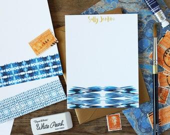 Personalized Stationery Indigo Shibori / Custom Flat Notes / Set (10) / Watercolor / Brushstroke / Gift for Her