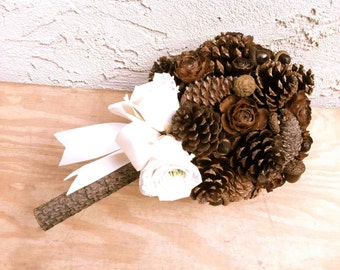 Alternative Pine Cone Bridal Bouquet Winter Fall Weddings
