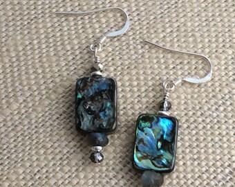 ABALONE EARRINGS, Sterling Silver Earrings, Labradorite