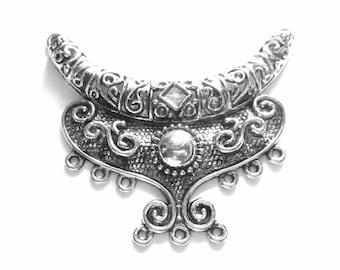 2 Antique silver Pendant charm  gypsy jewelry enhancer LG 64mm x92mm  boho chic  jewelry connector B334  SR1