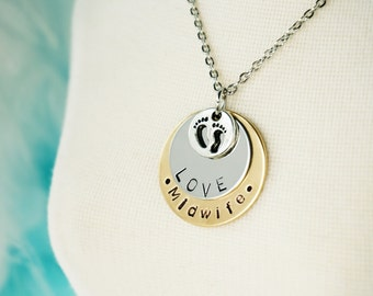 Midwife Gift Necklace - Hand Stamped Disk - Custom with Name - Little Feet Charm - Birthing Gift Jewelry - Nurse Gift