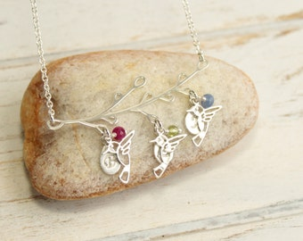 Sterling Silver Family Tree Necklace with Hummingbirds... Personalized Initials and Birthstones