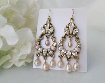 Gold and Blush Bridal Chandelier, Statement Wedding Earring, Swarovski Bridal Chandelier