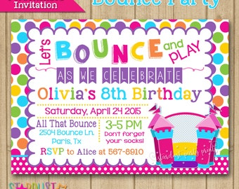 Bounce House Invitation, Bounce castle Invitation, Jump Invitation, Bounce Party, First Birthday Invitation, Printable Invitation