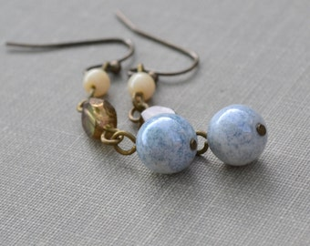 Green and Blue Glass Earrings, Clearance Jewelry, Bohemian Glass and Antiqued Brass, Beach Earrings