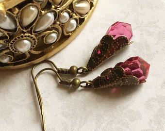 Pink Drop Earrings, Dark Pink Earrings, Pink Jewelry, Pink Earrings, Antique Drop Earrings, Crystal Drop Earrings, Crystal Earrings