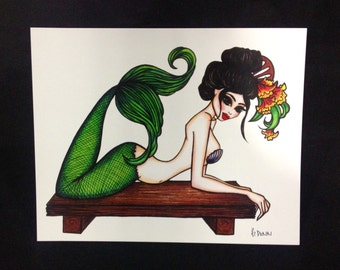Pinup girl - 'Ningyo' Illustration by Brenda Dunn
