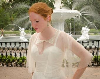 Ivory Bridal Cape, Wedding Cover-Up, Wedding Wrap, Bridal Wrap, Lace Capelet, Lace Cover Up- AVERY