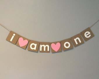 I am one banner, chipboard banner, first birthday banner, i am one