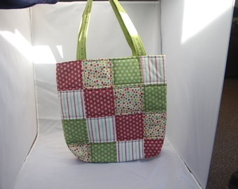 Handmade Quilted Patchwork Shopping Tote Bag - in Festive colours.